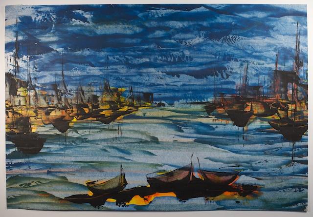 Original Mid Century Watercolor Painting By Karl Steiner