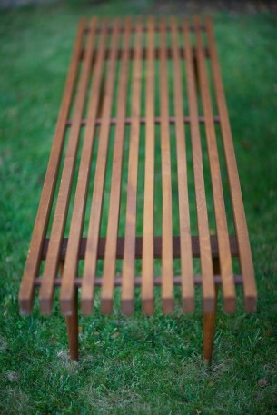 SOLD  mid century teak slat bench