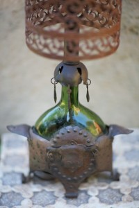 antique iron and glass lamp with metal shade