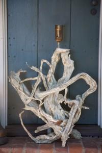 mid-century driftwood lamp