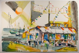 "$250 kon tiki  vintage mid-century watercolor painting  signed c. peck 15""x22"""