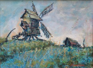 vintage windmill painting by ralph hasenbein