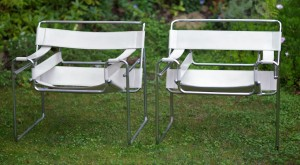 pair wassily leather armchairs