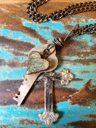 "Vintage steampunk industrial heart, cross and skeleton key necklace. 28"" necklace chain included."