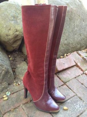 "Vintage suede and leather boots. Deep cherry color. Measure 19"" high with 4 1/4"" heel. Made in England. Marked sz 8 (but will fit women's size 8-9)"