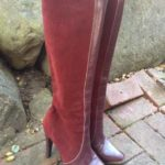 Vintage BRITISH Red Suede Leather Boots